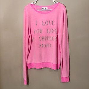 Wildfox | Graphic Soft Sweater Crew Pink Sz M